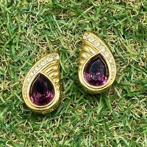 Vintage 80s 90s Swarovski purple rhinestone gold